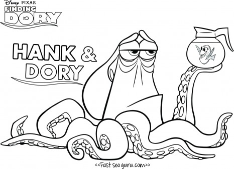 466x338 Print Out Finding Dory Hank Coloring Page For Kids