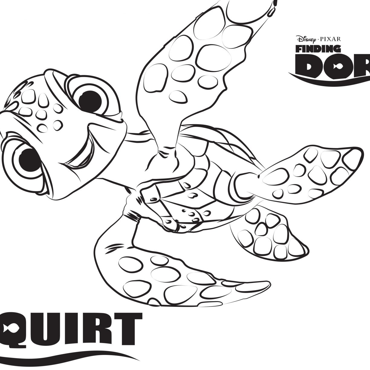 1224x1224 Disneys Squirt Finding Dory Coloring Pages Sheet Free Disney