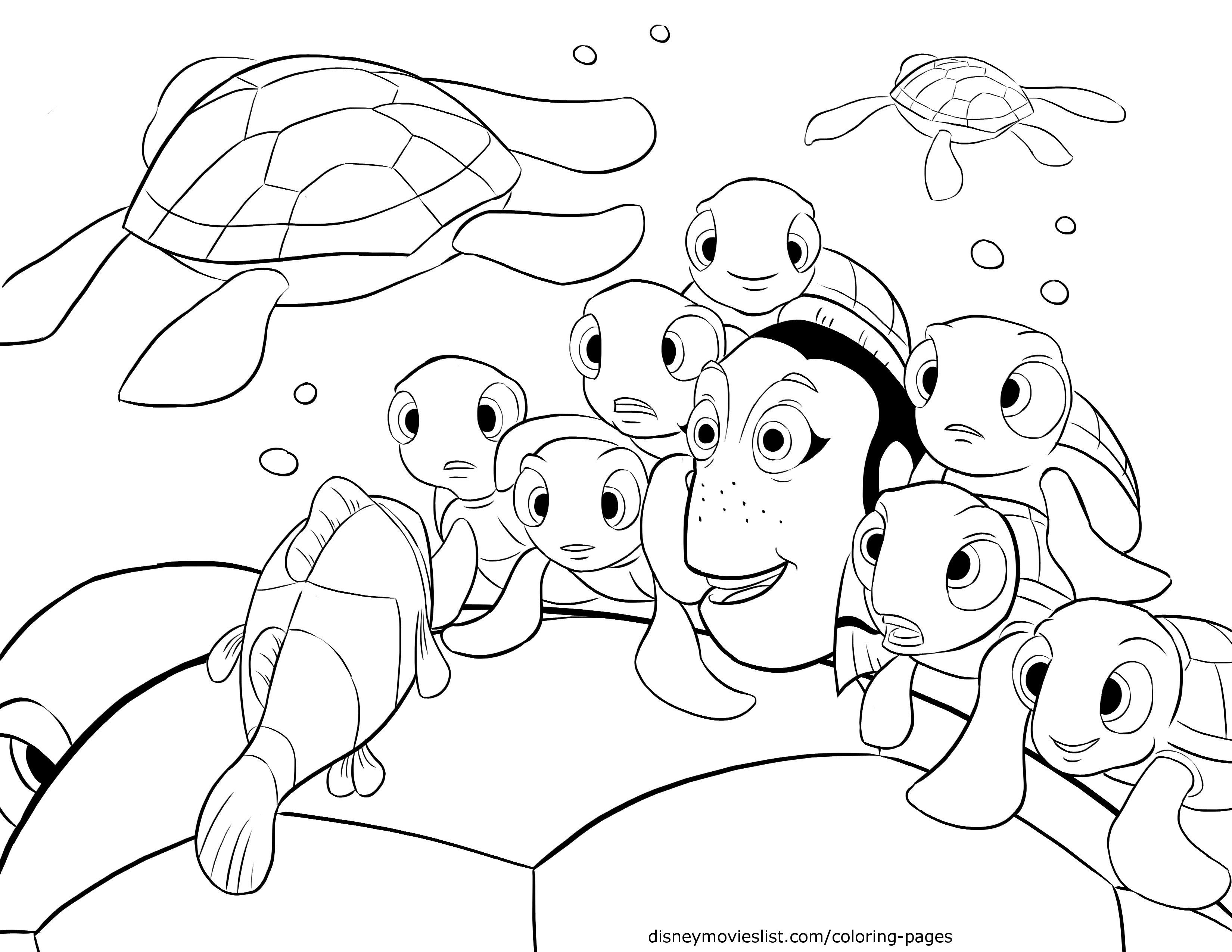 3300x2550 Disney's Finding Nemo Crush, Squirt Telling Stories Coloring Page