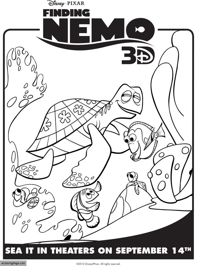 640x865 Finding Nemo Dory And Crush Coloring Pages For Kids Printable