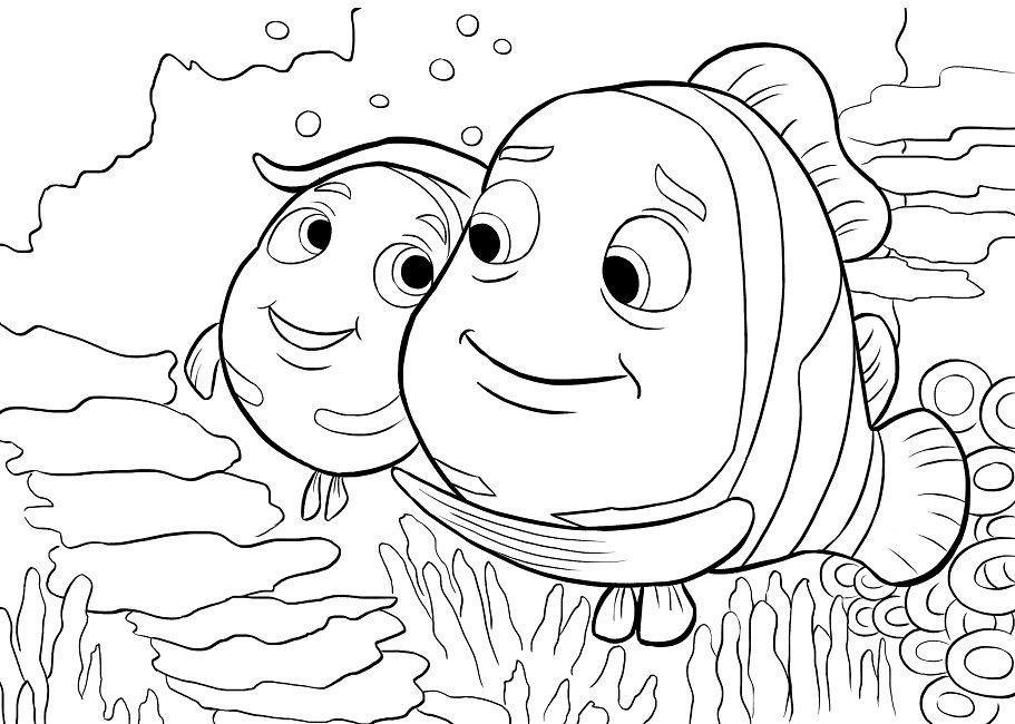 911x650 Finding Nemo Coloring Pages Peach For Kids Finding