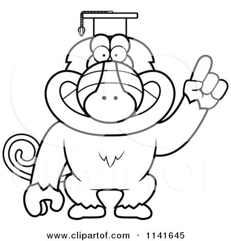 450x470 Graduation Cap Coloring Page Cartoon Of A Black And White Baboon