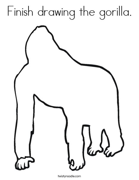 468x605 Finish Drawing The Gorilla Coloring Page