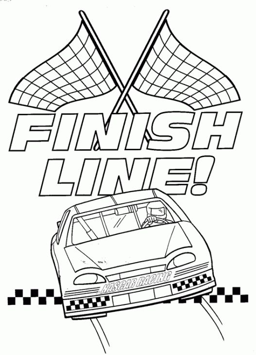 527x730 Nascar Car Reaches Finish Line Coloring Page Vbs