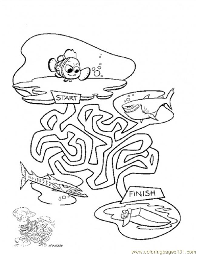650x842 Nemo Maze Coloring Page
