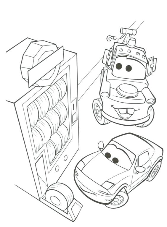 564x768 Coloring Page Cars Is About To Cross The Finish Line Coloring Page
