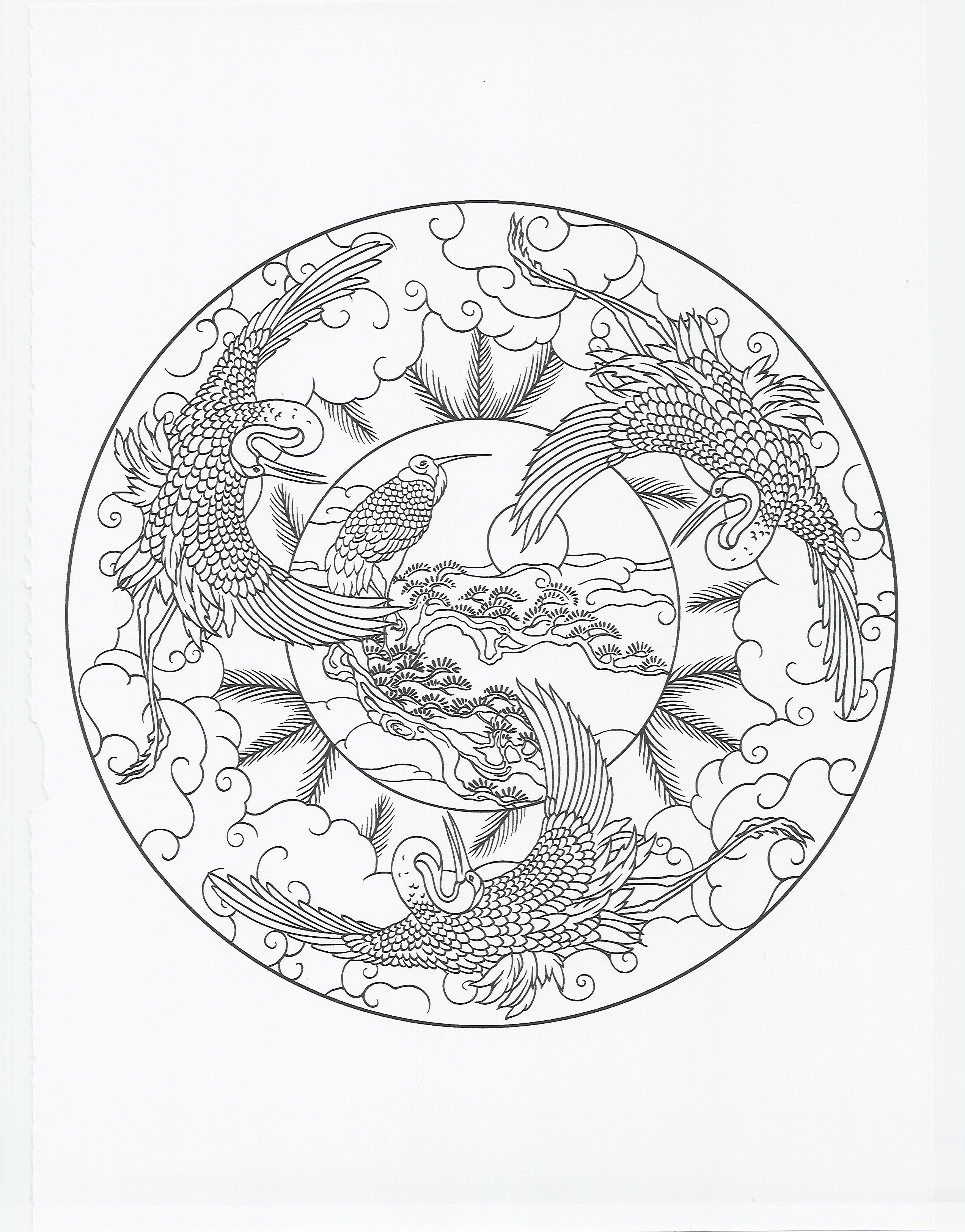 2544x3248 Animal Mandala Crane Coloring Pages Collection