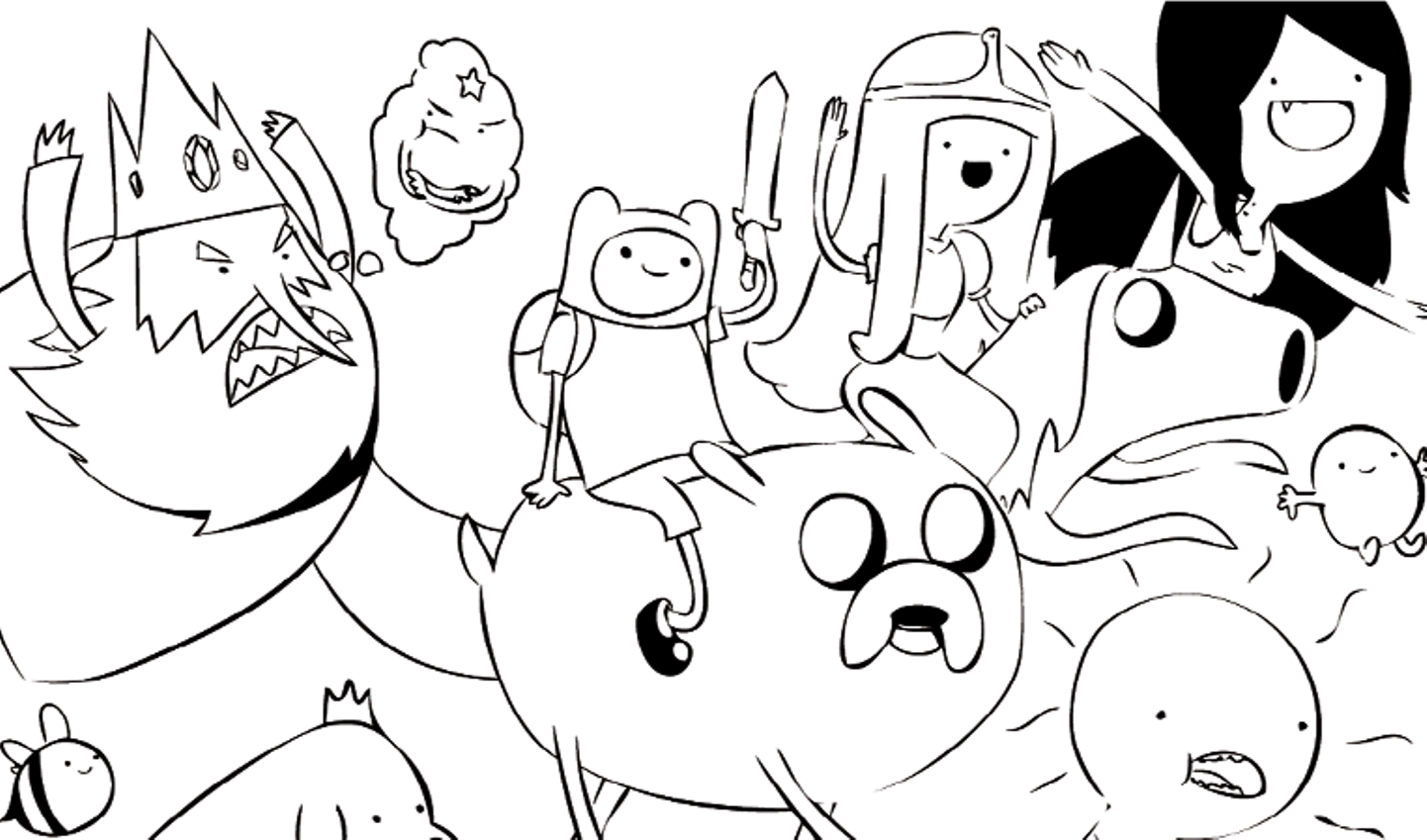 1442x849 Now Adventure Time With Finn And Jake Coloring