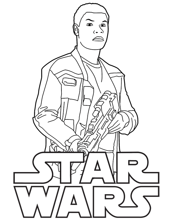 600x740 Finn And Star Wars Logo On One Coloring Page To Print Or Download