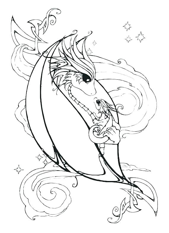570x784 Fire Breathing Dragon Coloring Pages For Adults Beautiful Dragons