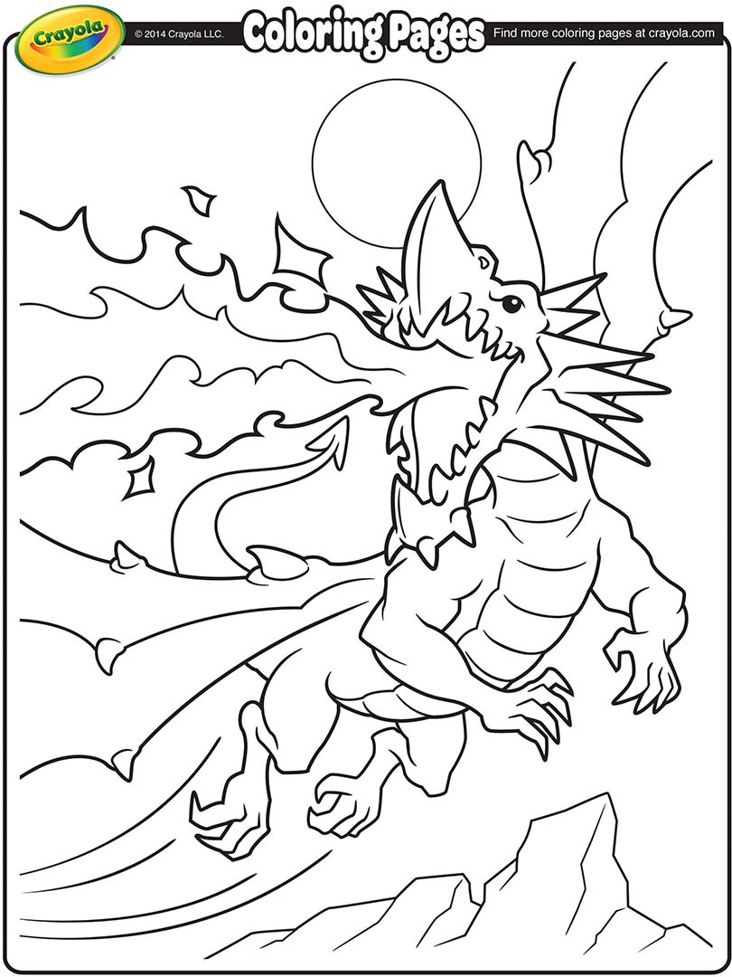 810x1080 Fire Breathing Dragon Coloring Page