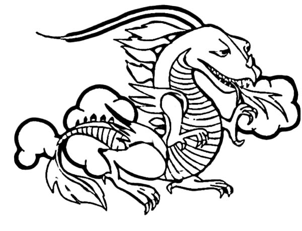 600x460 Fire Breathing Chinese Dragon Coloring Pages