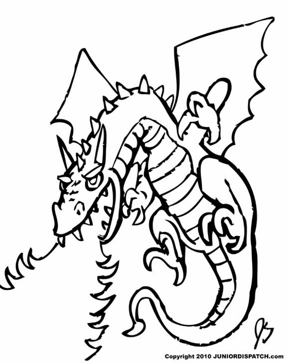 576x729 Fire Dragon Coloring Pages