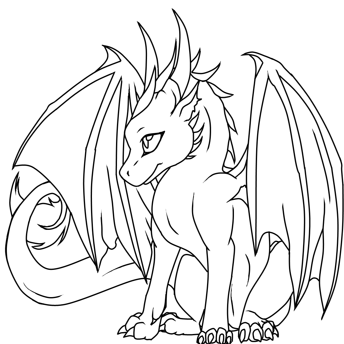 1100x1100 Printable Fire Breathing Dragon Coloring Free Colouring Pages