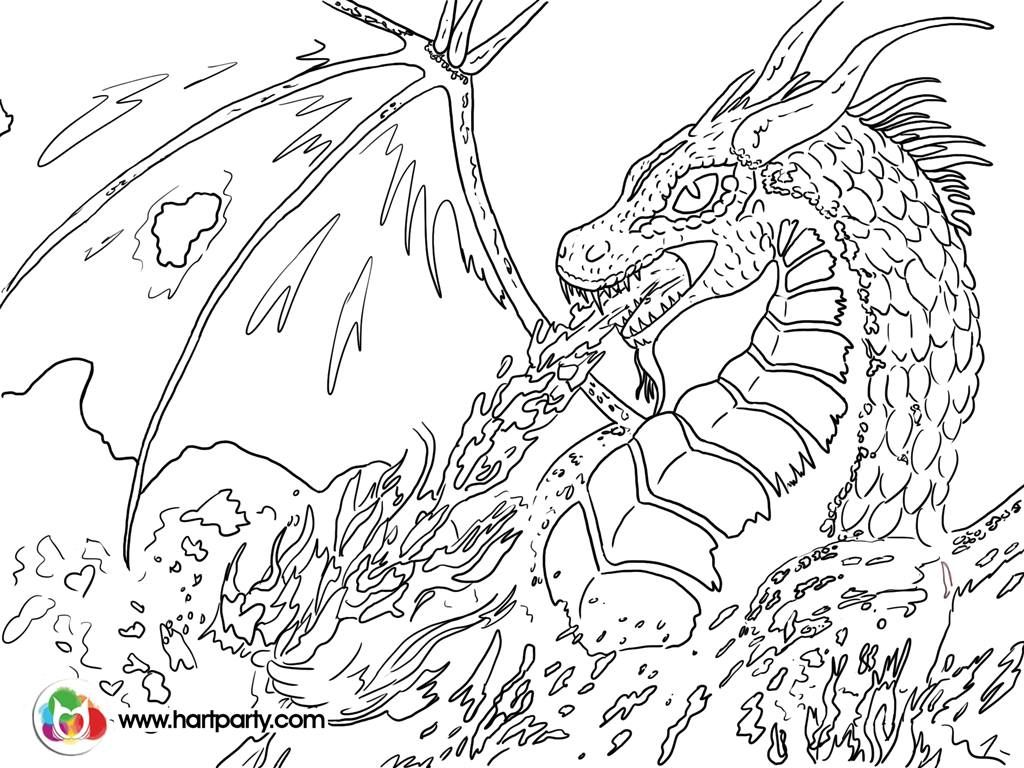 1024x768 Trace Able Coloring Page For Fire Breathing Dragon