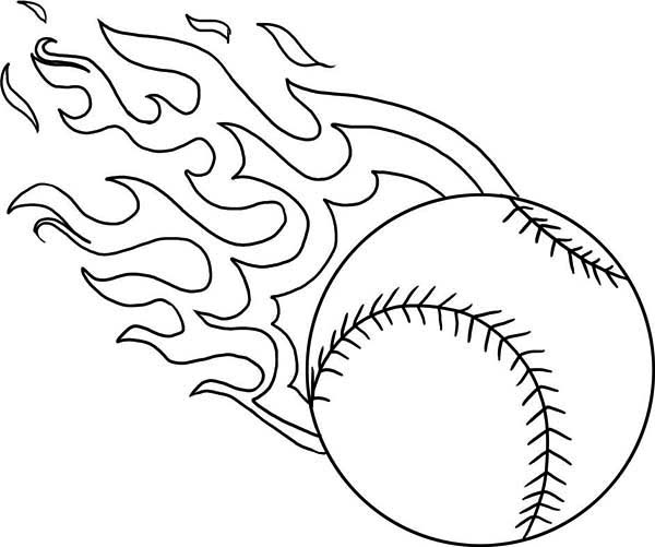 600x501 Fire Baseball Coloring Page