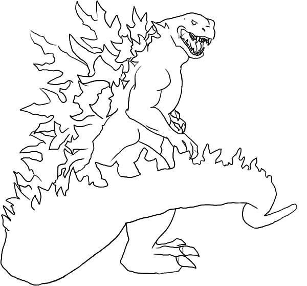 600x558 Godzilla Set On Fire Coloring Pages Color Luna