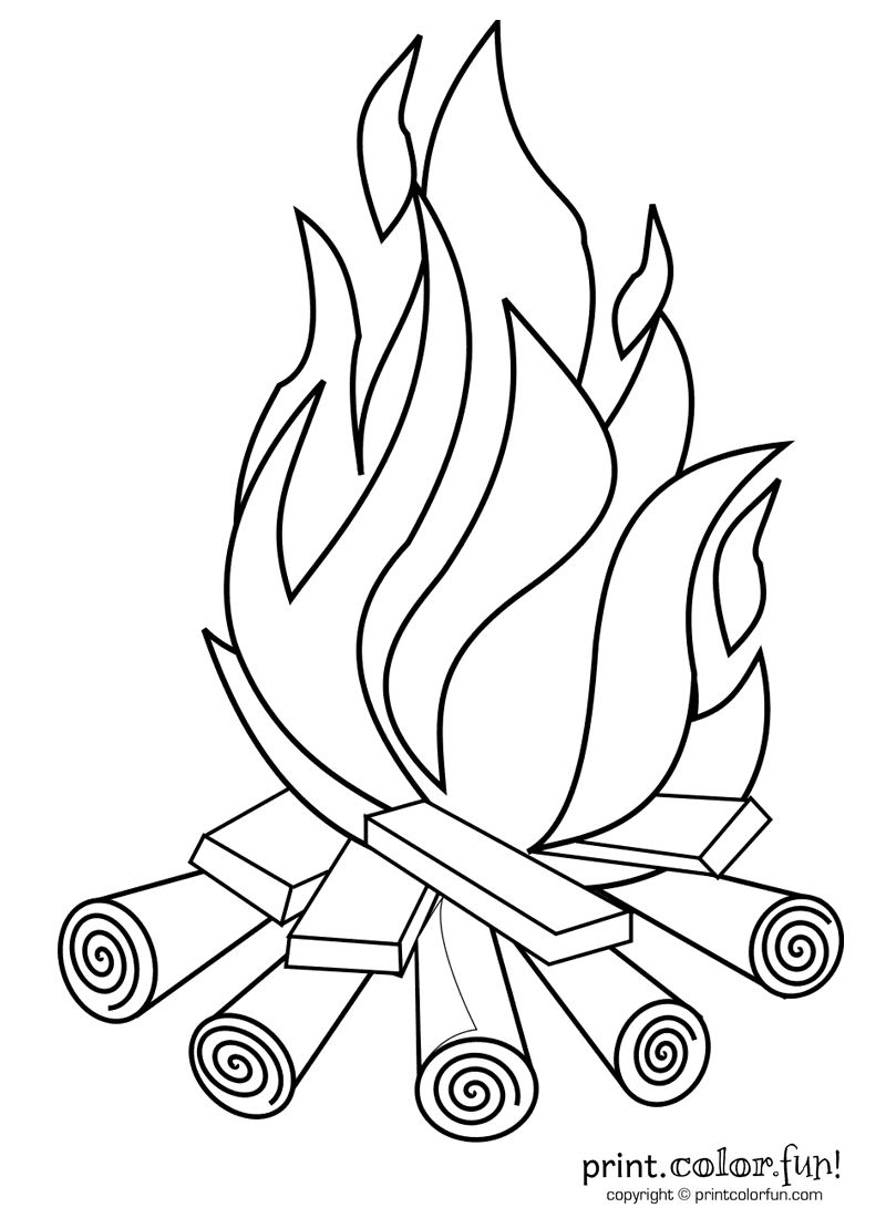 800x1100 Campfire Coloring Pages