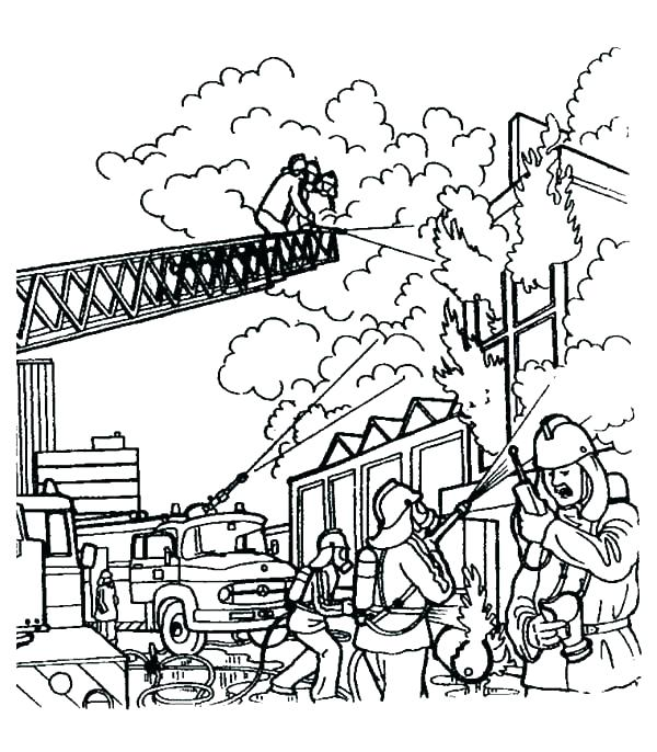 600x686 Fire Station Coloring Page Fireman Fire Department Colouring Pages