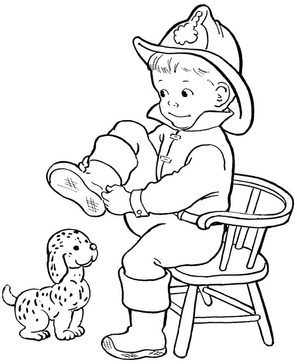 600x734 Firefighter Coloring Page For Kids Fireman Coloring Page Fireman