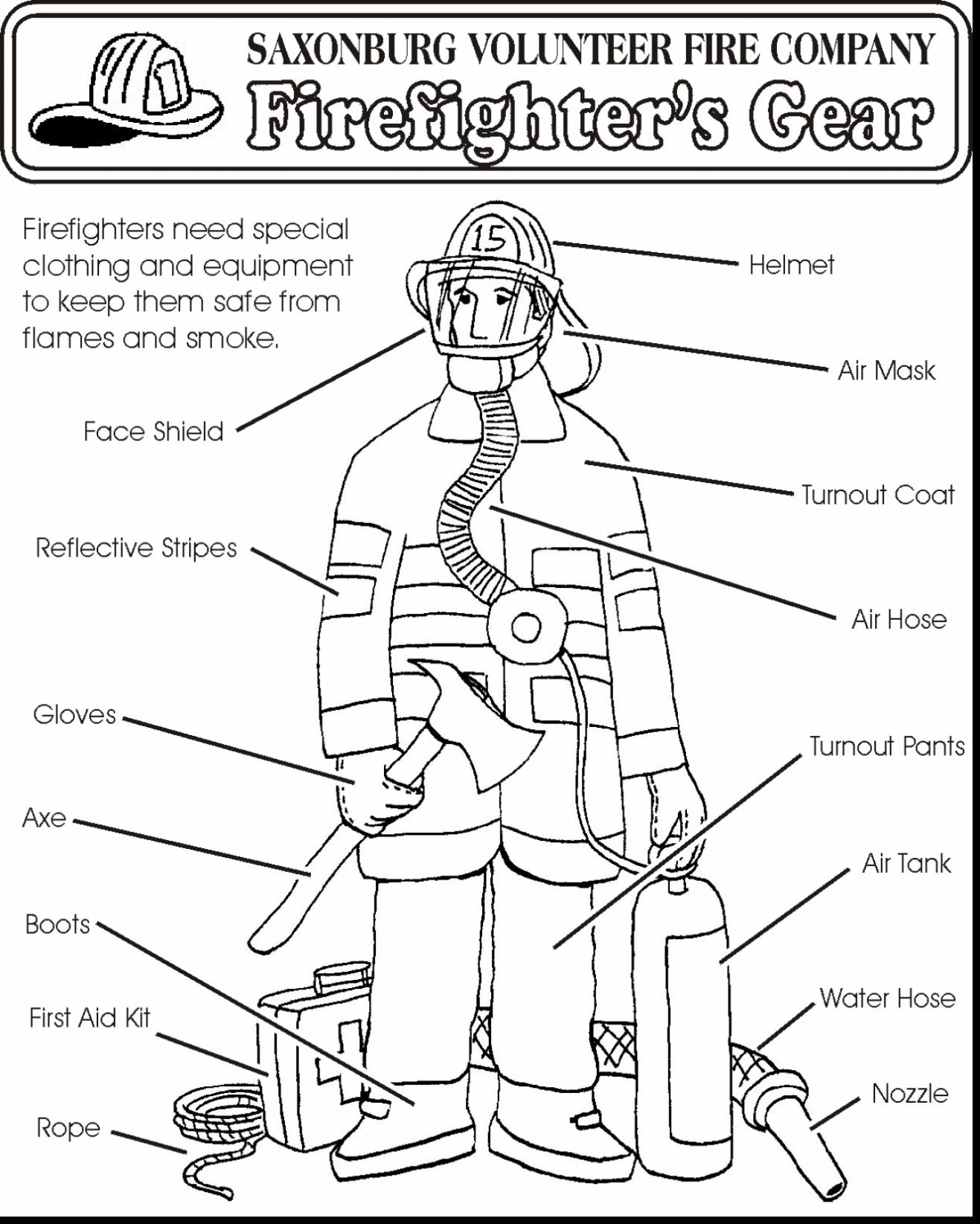 1317x1645 Brilliant Firefighter Equipment Coloring Pages With Fire Safety