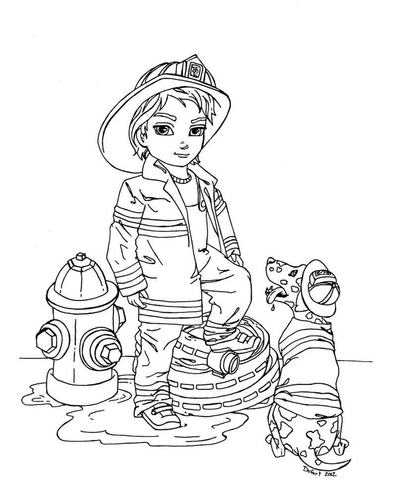 795x1004 Cool Fire Fighter Coloring Pages