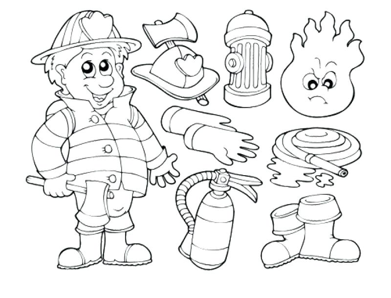 800x609 Printable Fireman Coloring Sheets Firefighter Jobs Pages Drawing