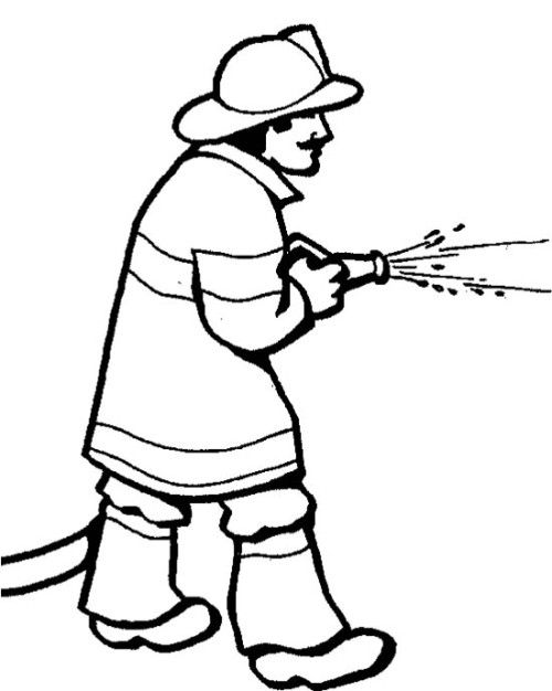 500x626 Fireman Spray Water Coloring Pages Kids Coloring Pages