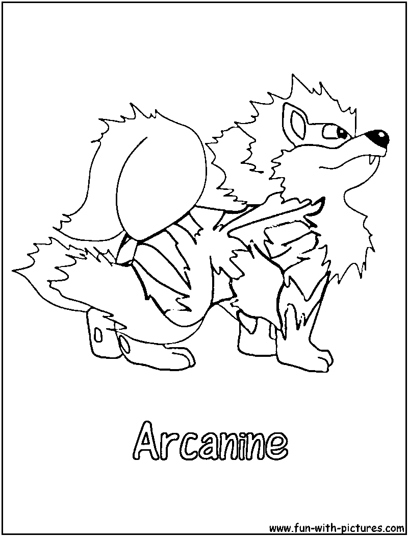 800x1050 Arcanine Coloring Page