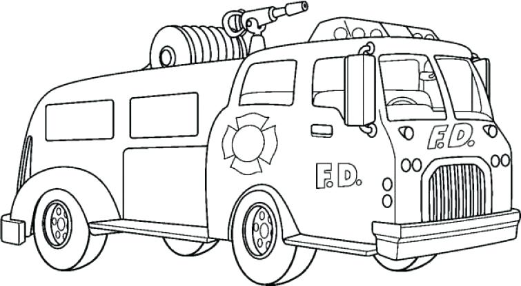 755x415 Firetruck Coloring Pages Pumper Truck In Online Fire Truck