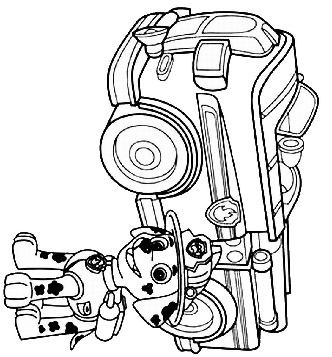 1117x1200 Marshall With His Firetruck Coloring Page Paw Patrol Coloring