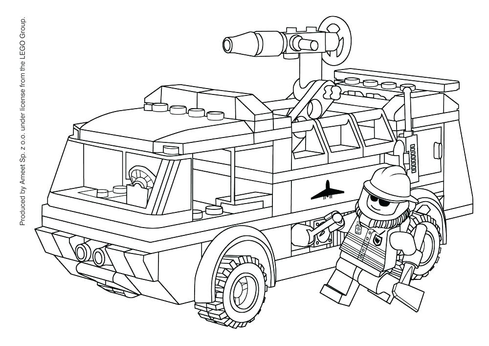 1000x707 Fire Truck Coloring Page