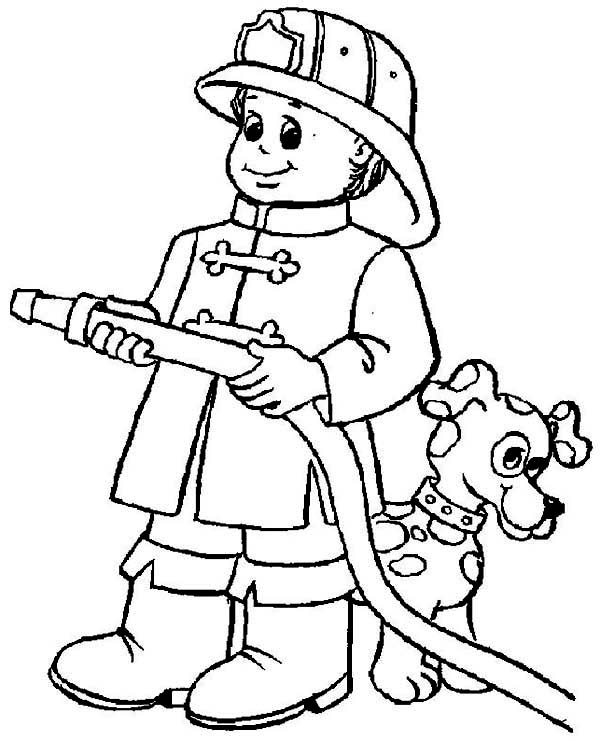 600x741 Emerging Firefighter Coloring Sheets Fireman Pages