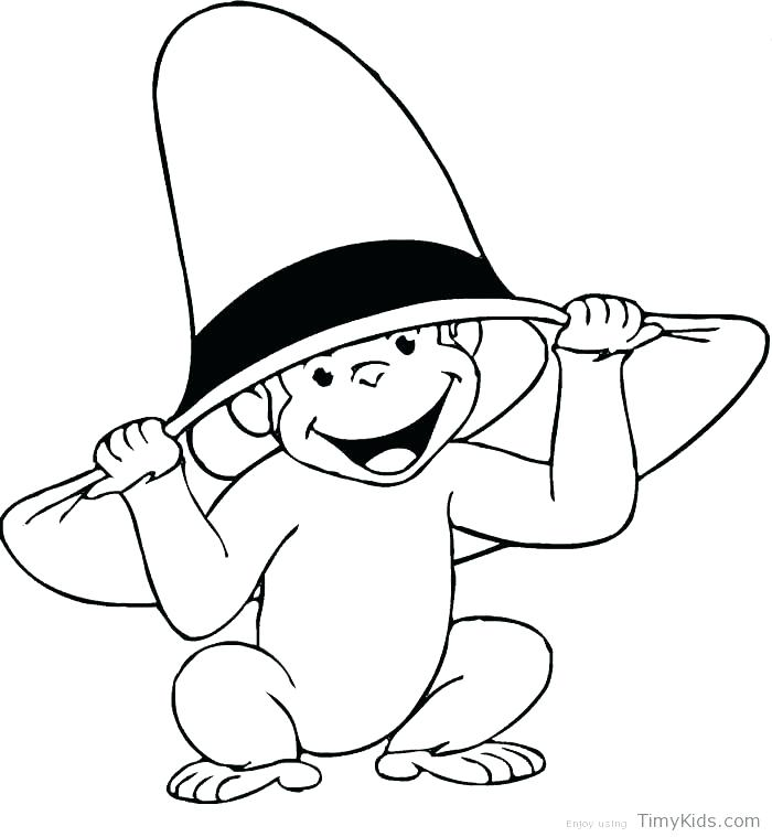 700x759 Coloring For Kids Online Curious George Wear Firefighter Hat