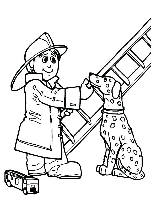 595x842 Fire Fighter Coloring Page Firefighter Hat Coloring Page