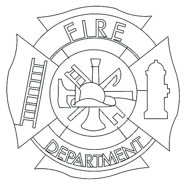 600x600 Fire Fighter Coloring Pages Fireman Hat Coloring Page Cross Fire