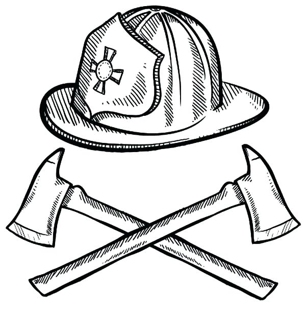 600x627 Fireman Hat Coloring Page Firefighter Helmet And Axes Cross