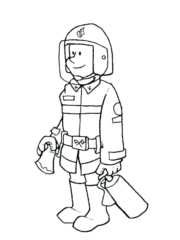 600x800 Coloring Pages Fireman Fire Fighter Coloring Page Fireman Hat