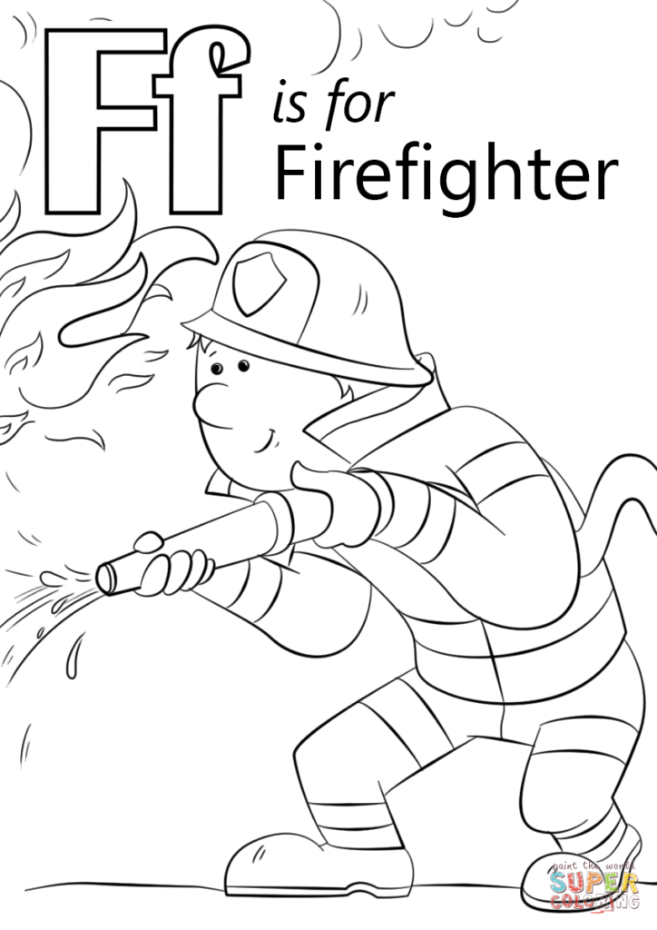 724x1024 Fireman Coloring Pages Bargain Sheet Letter F Is For Firefighter