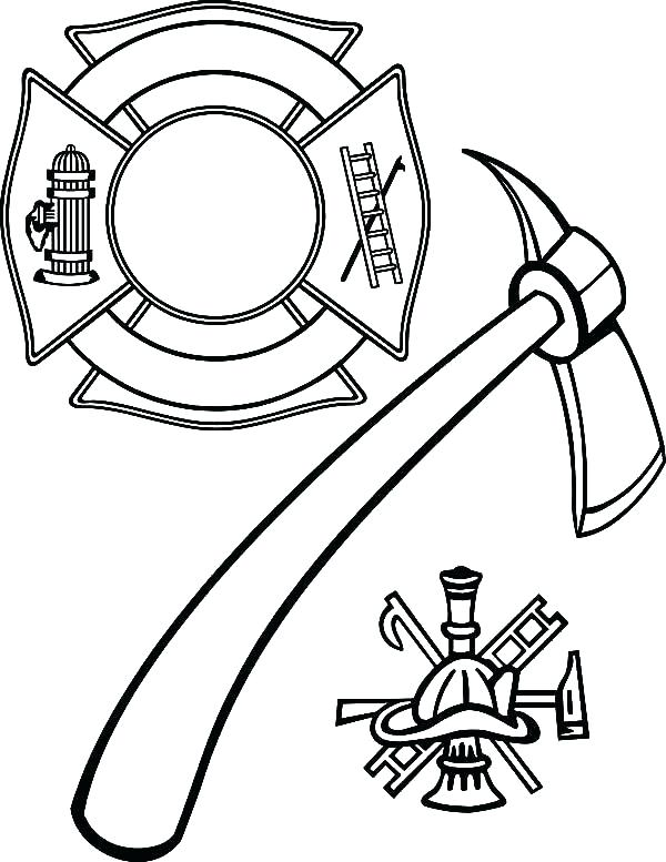 600x777 Fire Fighter Coloring Page Firefighter Hat Coloring Page Cross