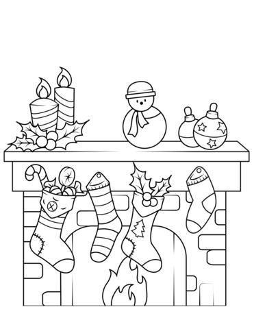 371x480 Christmas Fireplace Coloring Page Free Printable Pages Stuning