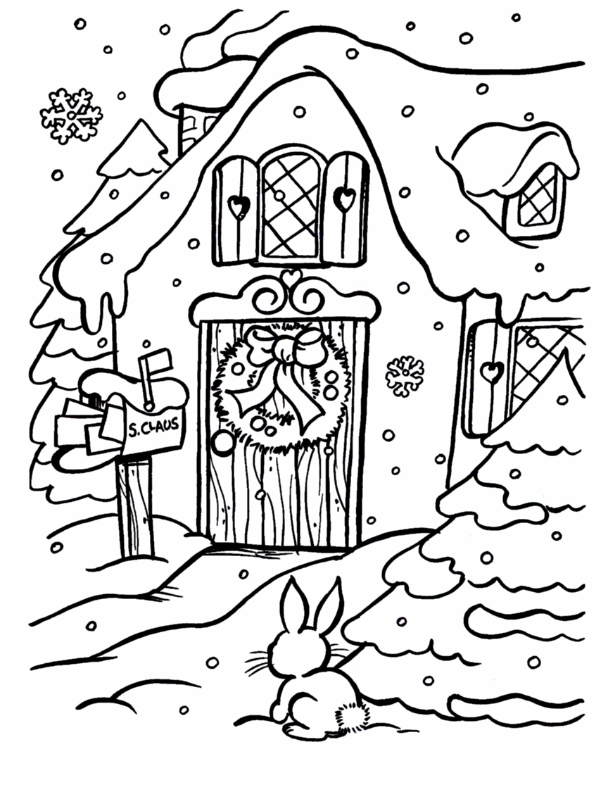 864x1152 Christmas Fireplace Coloring Pages Free