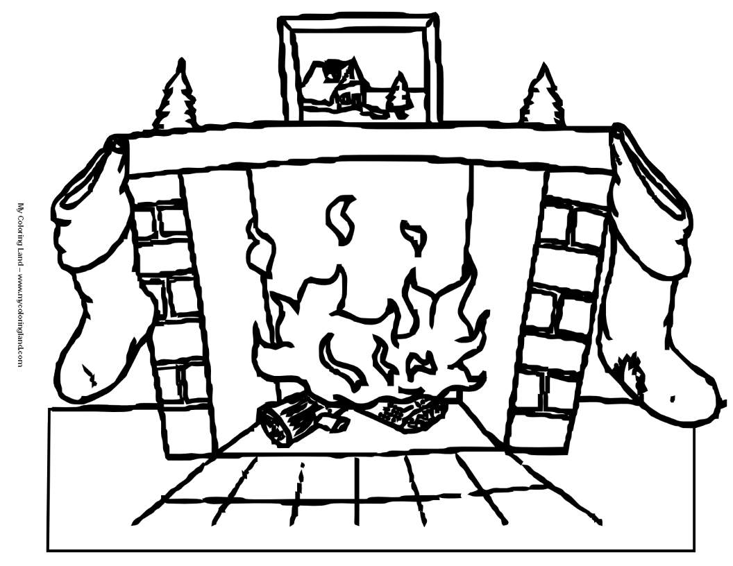 1056x816 Christmas Fireplace Coloring Pages To Print Coloring For Kids
