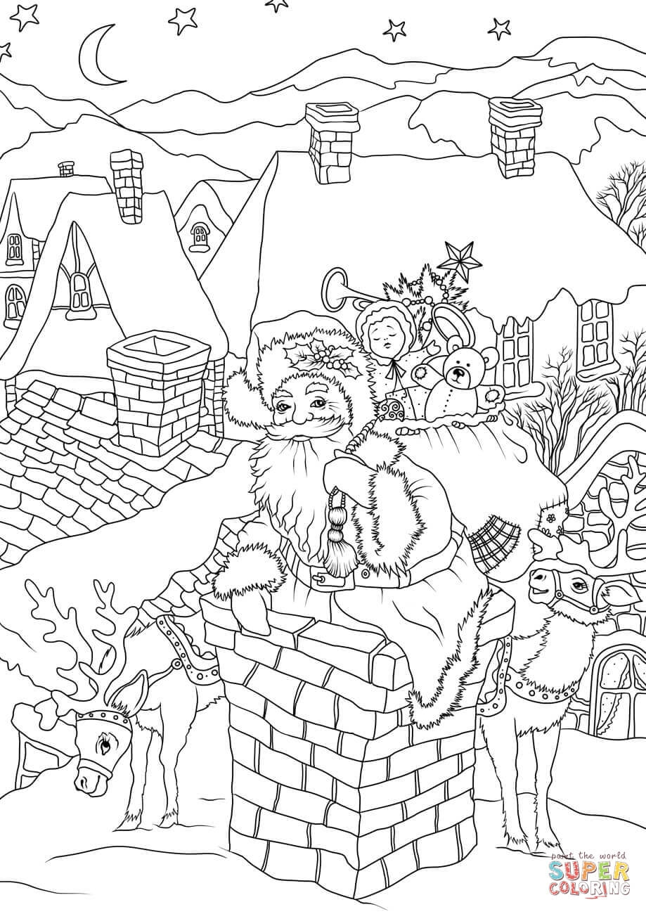 919x1300 Cool Santa Claus With Presents Is Entering House Via