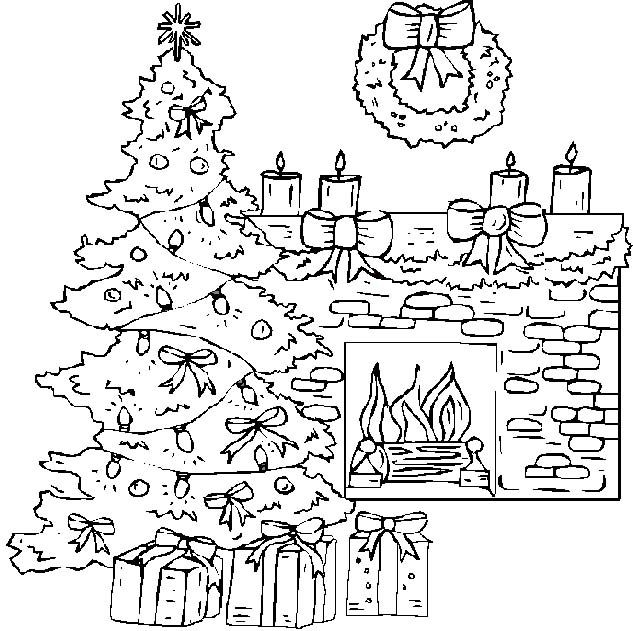 633x631 Fireplace With Christmas Tree Coloring Pages Christmas