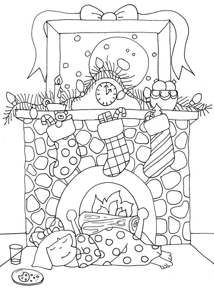 736x1003 Beautiful Fireplace Coloring Page