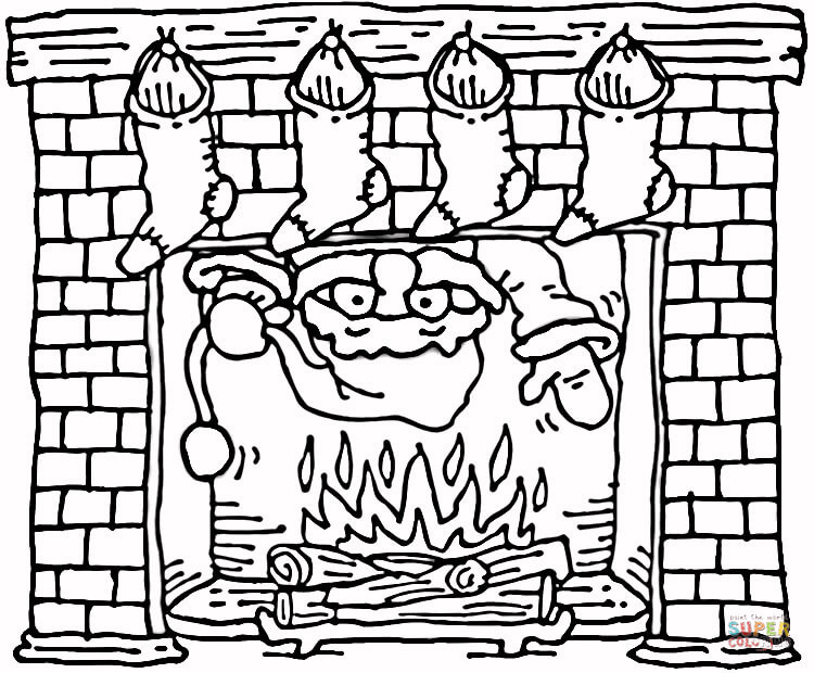 750x620 Santa Coming Out Of The Christmas Fireplace Coloring Page Free