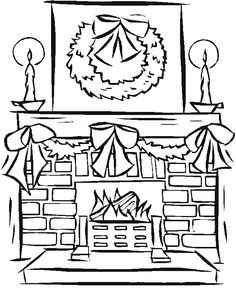 236x288 Christmas Fireplace Coloring Pages