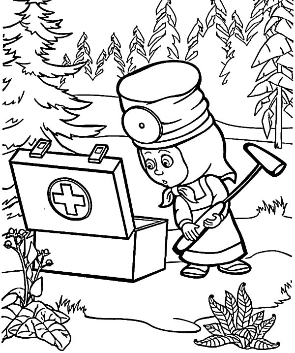 600x717 Masha And The Bear First Aid Kit Coloring Pages Color Luna