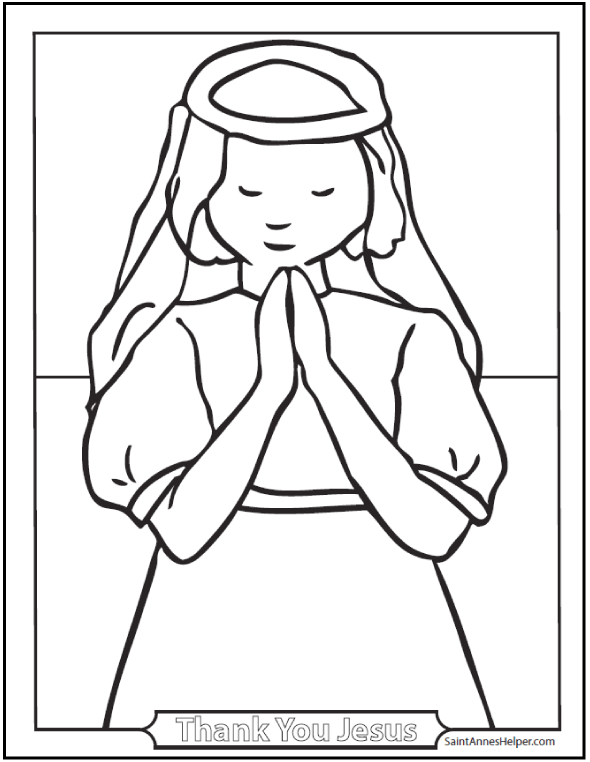 590x762 First Communion Girl Coloring Page